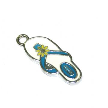 1pce x 24*10mm Rhodium plated blue flip flop with yellow daisy enamel charm - SD03 - CHE1138
